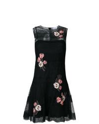 Robe évasée en dentelle à fleurs noire RED Valentino