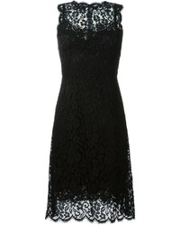 Robe évasée en dentelle noire Dolce & Gabbana