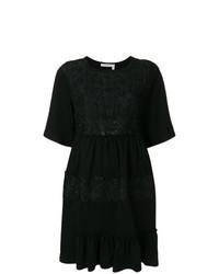 Robe évasée en dentelle ornée noire See by Chloe