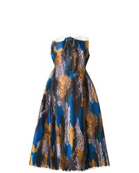 Robe évasée en soie imprimée multicolore Marni