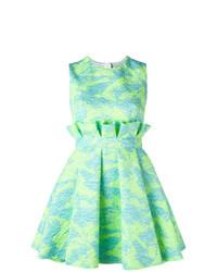 Robe évasée imprimée vert menthe MSGM