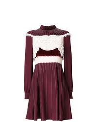 Robe évasée ornée bordeaux Valentino