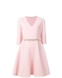 Robe évasée ornée rose Lanvin