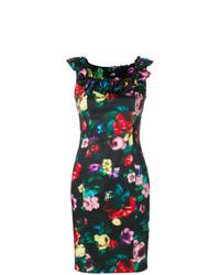 Robe fourreau à fleurs noire Love Moschino
