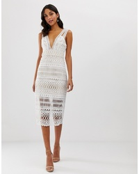 Robe fourreau en crochet blanche
