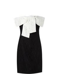 Robe fourreau en dentelle noire et blanche