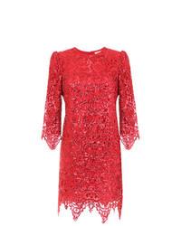 Robe fourreau en dentelle rouge