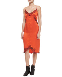 Robe fourreau en soie orange
