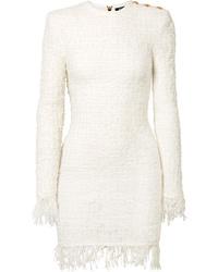Robe fourreau en tweed blanche Balmain