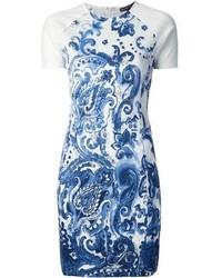 Robe fourreau imprimée blanc et bleu Ralph Lauren
