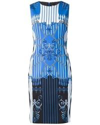 Robe fourreau imprimée blanc et bleu Versace