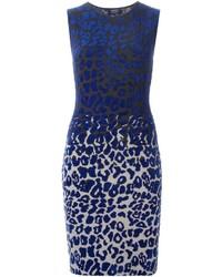 Robe fourreau imprimée léopard bleue Lanvin