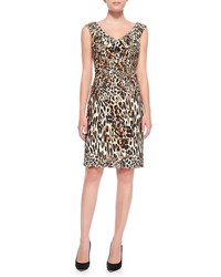 Robe fourreau imprimée léopard marron clair