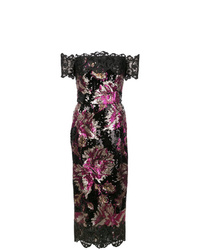 Robe fourreau pailletée à fleurs noire Marchesa Notte