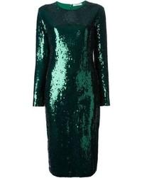 Robe fourreau pailletée verte