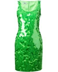 Robe fourreau pailletée verte Moschino Cheap & Chic