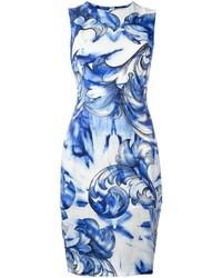 Robe imprimée bleue Versace