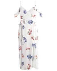Robe longue à fleurs beige Bardot