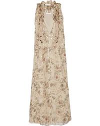 Robe longue à fleurs beige Chloé