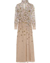 Robe longue à fleurs beige