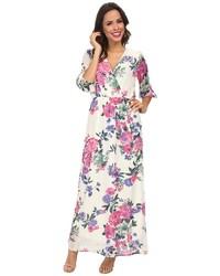 Robe longue à fleurs blanc et rose