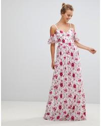 Robe longue à fleurs blanc et rose Little Mistress