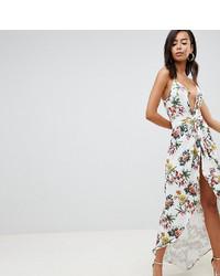 Robe longue à fleurs blanche Asos Tall