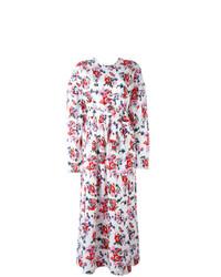 Robe longue à fleurs blanche MSGM