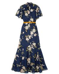Robe longue à fleurs bleu marine Erdem