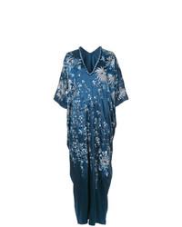 Robe longue à fleurs bleu marine Josie Natori