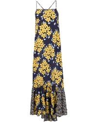 Robe longue à fleurs bleu marine Suno