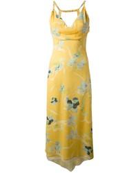Robe longue à fleurs jaune Kenzo