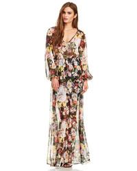 Robe longue à fleurs multicolore