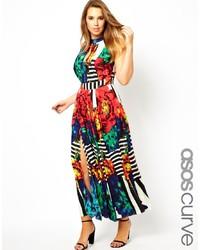 Robe longue à fleurs multicolore Asos Curve