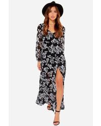 Robe longue à fleurs noire