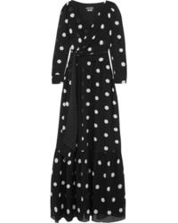 Robe longue á pois noire