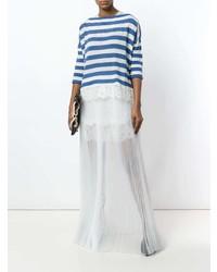 Robe longue à rayures horizontales blanc et bleu marine Ermanno Scervino