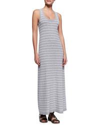 Robe longue à rayures horizontales grise