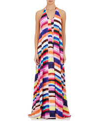 Robe longue à rayures horizontales multicolore