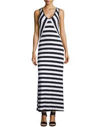 Robe longue à rayures horizontales noire et blanche