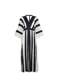 Robe longue à rayures verticales blanc et bleu marine