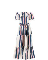 Robe longue à rayures verticales blanc et bleu marine La Doublej