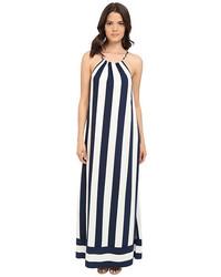 Robe longue à rayures verticales blanche et noire
