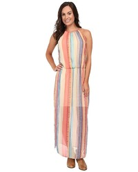 Robe longue à rayures verticales multicolore