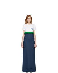 Robe longue blanc et bleu marine Prada