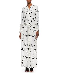 Robe longue blanche et noire