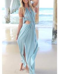 Robe longue bleu clair