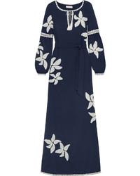 Robe longue bleu marine Tory Burch