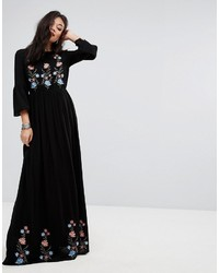 Robe longue brodée noire Vero Moda