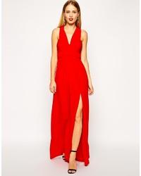 Robe longue rouge asos